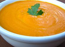 Cream of Carrot Soup with Leek and Fresh Ginger (gluten-free)