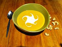 Curried Butternut Squash and Cashew Soup (Dairy-free)