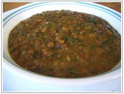 MASOOR DAL (Red Lentils) WITH SPINACH AND LEMON (slow cooker)